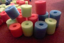 Cut up pool noodles in block area