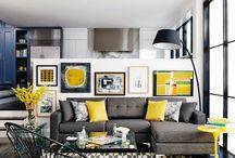 sarı gri ev dekorasyonları
