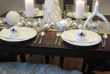 Christmas table decorating