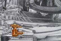LA BELLE ANGLAISE / BSA /MOTO/ DESSIN /Mine de plomb /huile sur toile  40x30