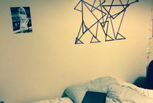 Washi tape / Geometric wall art washi tape idea colour decorate