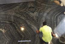 งานติดตั้งปูพื้น หินอ่อน Black forest ต่อลาย Bookmatch ตามเเบบ / งานติดตั้งปูพื้น หินอ่อน Black forest ต่อลาย Bookmatch ตามเเบบ www.thaistoneshop.com