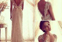 wedding dress, hair, flowers