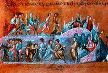 """Vienna Genesis / """"The Vienna Genesis (Vienna, Österreichische Nationalbibliothek, cod. theol. gr. 31), designated by siglum L (Ralphs). Muhtemelen 6. yüzyılın ilk yarısında Suriye bölgesinde üretilmiş bir yaldızlı el yazması eserdir.  Günümüze kalan 24 folyonun her birinin altında minyatür vardır. Metin, Septuagint'in Yunanca tercümesinin Genesis kitabından kısımlardan oluşur."""