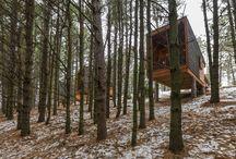 Cabinas de Madera / Refugios de diseño rectangular en voladizo sobre la ladera del bosque.  http://www.estudiodream.es/