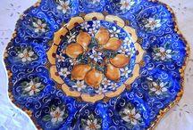 """Piatto Ovarola In ceramica dipinta  a mano."""" Limoni"""""""