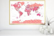 ~ World maps ~ Hot pink watercolor world maps with Antarctica