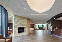 Healthcare Design - Interiors / Hospital interiors that incorporate open spaces, natural light, art installations and flexibility #healthcaredesign #hospitals #cancercenters