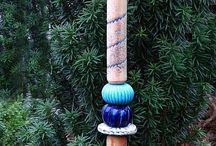 ceramics garden sticks, totems