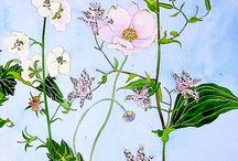 꽃 수채화 일러스트