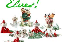 Vintage Elves for a Shabby Xmas / A collection of Vintage ceramic elves from the 1950's