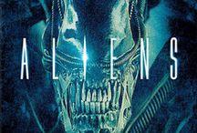Alien. / Alien, Aliens, Alien3, Alien Resurrection and Prometheus.