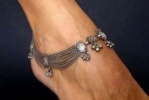 silver hairpins & anklet