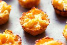 Mac and cheese baked in muffin pans