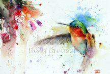 Colibris aquarelle