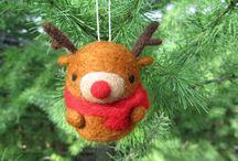 Ornements Noël laine feutrée