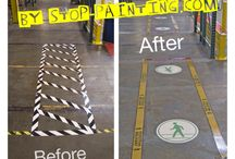 "Floor Marking ""Before & After"" Photos / Improving floor marking layouts using Superior Mark floor tape to visually organize & communicate safety."