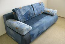 Újrahasznosított farmer bútorok. Recycled denim furnitures