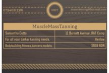 MuscleMassTanning - my tanning company for darker tans, bodybuilding, physique, bikini, model, the list goes on...  I am also a spray tanner for normal tans and I am mobile. :)