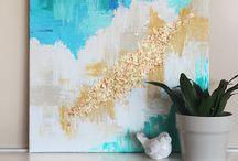 cuadro con pan de oro y azules