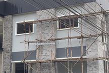 อิฐเทียม CB-091 สีเทา ตกแต่งเสาโชว์ภายนอกทุกด้าน ตึก 2 ชั้น / อิฐเทียม CB-091 สีเทา ตกแต่งเสาโชว์ภายนอกทุกด้าน ตึก 2 ชั้น