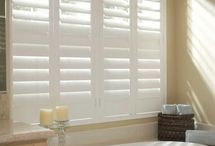 Bathroom | Window Treatment Inspiration / Inspirations to help with selecting window treatments for the bathroom. Whether it be plantation shutters, sheers, pelmet boxes, valances, roller or roman blinds.