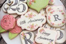 happy anniversary themed cookies