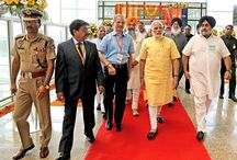 International Airport Mohali / Prime Minister Mr. Narendra Modi, accompanied by Punjab Governor Prof. Kaptaan Singh Solanki, Chief Minister Mr. Parkash Singh Badal and Deputy Chief Minister Mr. Sukhbir Singh Badal, dedicating the International Airport at Mohali to the nation.