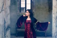 Medieval custom red velvet dress / My handmade medieval dress, this one is made with dark red velvet and a centre panel of red flocked damask taffeta and I have added a hood.