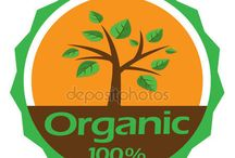 Organic, Natural, Green leaving symbols logos