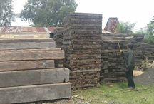 Traviesas de tren de madera de hierro