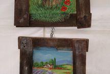flowers and landscape - acrilic on wood