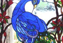 Glass painting - Peacocks