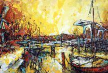 Overige steden & dorpen / Vlotte penseelstreken en kleurrijke accenten resulteren in energieke schilderijen van diverse steden en dorpen