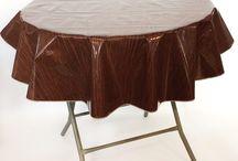 Round Faux Bois Tablecloths