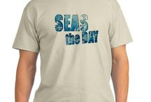 Seas the Day Boating Shirts / Seas the Day is an inspirational quote that applies to anyone that loves life. The pun is for nautical loving boaters and sailors who connect with the sea.