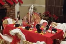 Red and Gold Spa party for girls / Red and Gold girl birthday party