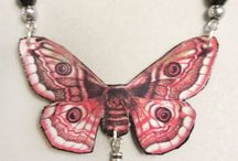Butterfly & dragonfly pendants / Pendants made of leather, pictures of butterflies/dragonflies and pearls. Minka / www.minka.fi