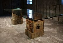UNIKA Glass tables / A new range of products, combining the rustic reclaimed timber with glass,