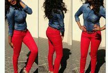 Jeans red shirt blue heels
