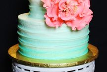 Mint and pink shower cakes