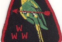 Santee Lodge 116 Order of the Arrow Patches / A collection of insignia issued by the Order of the Arrow lodge of the Pee Dee Area Council BSA in Florence, SC.  The totem of the lodge is the long extinct Carolina Parakeet.