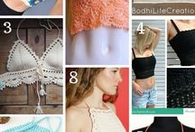 Crochet jackets, tops and bikinis