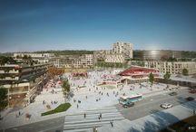 """Projets mixtes / L'ambition du groupe : construire des """"morceaux de ville"""" associant commerces, logements, bureaux et hôtels, afin de contribuer au mieux """"vivre collectif"""" et apporter une cohésion urbaine."""