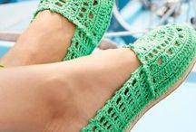 sandali crochet tela