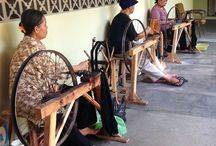 Indonesian Weaving / Tenun, or weaving, has a long history in Indonesia.  Many artisans are still producing textiles with the same techniques and wooden looms used for generations.
