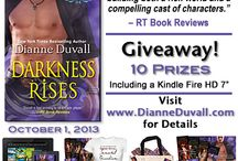 "Darkness Rises Release Giveaway / To celebrate the release of DARKNESS RISES, I'm giving away 10 Awesome Prizes, including a Kindle Fire HD 7"" Tablet and a Kindle!  http://www.dianneduvall.com/DRreleasegiveaway.htm"