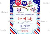 July 4th Owls Independence Day / This design features two cute owls and fireworks. The background consists of navy blue stars, red, white and blue stripes and a stripe ribbon with stars.