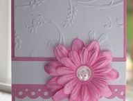 Pink and white card with pink flower