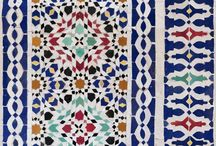 Moorish Mosaics (fabrics) / Moorish Mosaics is a delightful collection of beguiling patterns inspired by vintage mosaic tiles, ceramics and the souks of Marrakesh. Featuring the decorative detail and beauty of vintage ceramics. Cracked, broken or sun-bleached the patina of time is celebrated in these stunning historic designs.